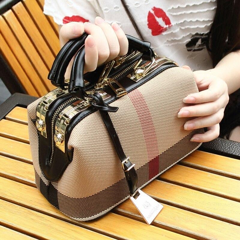 Plaid Canvas Bag Women Fashion Handbag 2017 Woman Crossbody Shoulder Bag Doctor Bag Purse Big Capacity Lady Designer Hand Bags<br>