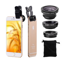 3in1 Lente Fish Eye + Wide Angle Micro Lens Optical Lenses Mobile Phone Camera Kit For iPhone 6S 7 Samsung Huawei Lenovo HTC LG
