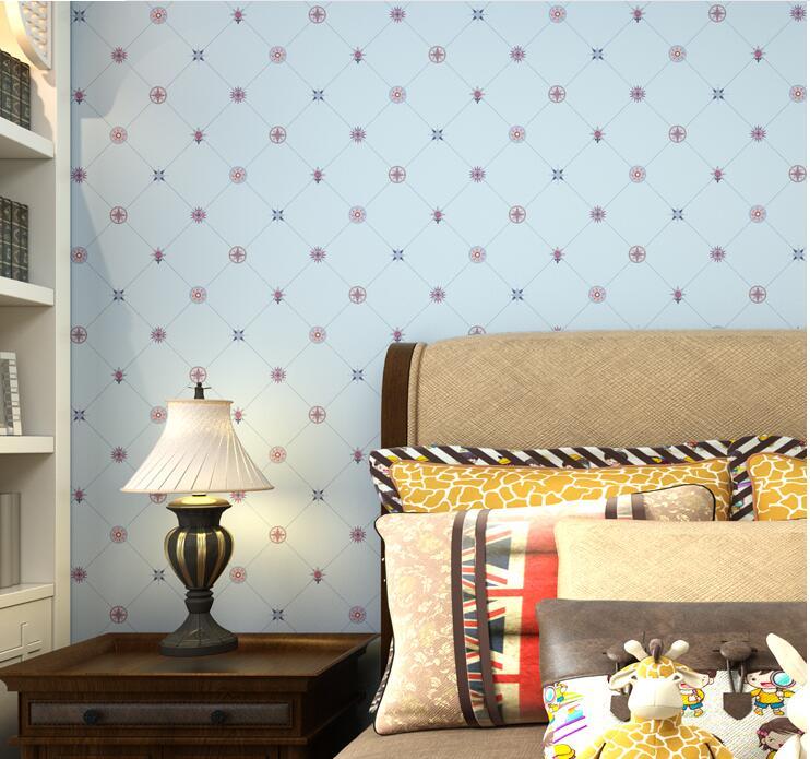 Blue Cartoon Printed Kids Bedroom wallpaper<br>