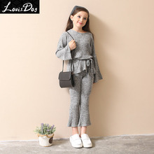 2017 girls cloth set sweater suit AuroraBaby Brand fashion kids grey knit set for teenage girls size 12 13 14 15 16