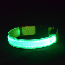 lodogsow LED Dog Collar Glowing In Dark Nylon Lighting Safety LED Pet Collar 2.5cm Wide Luminous Pet #30