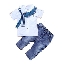 Baby Boy Clothes Casual T-Shirt+Scarf+Jeans 3pc Baby Clothing Set Summer Child Kids Costume For Boys 2017 Toddler Boys Clothes(China)