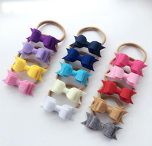 14Colors 3x1.20 inch 3 Layer Felt Bows With Headband For Girls kids hairbands Hair Accessories 50Pcs/lot(China)