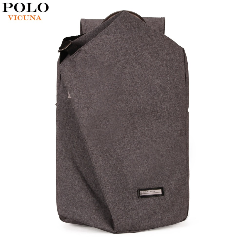 VICUNA POLO Casual Canvas Men Laptop Backpack With Metal Handle Large Capacity Double Layer Men School Bag Leisure Man mochilas<br>