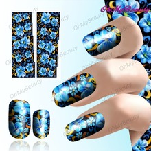 2 Sheet Blue Blossom Nail Art Sticker Decals Beauty Nail Wraps Manicure Decoration Easy