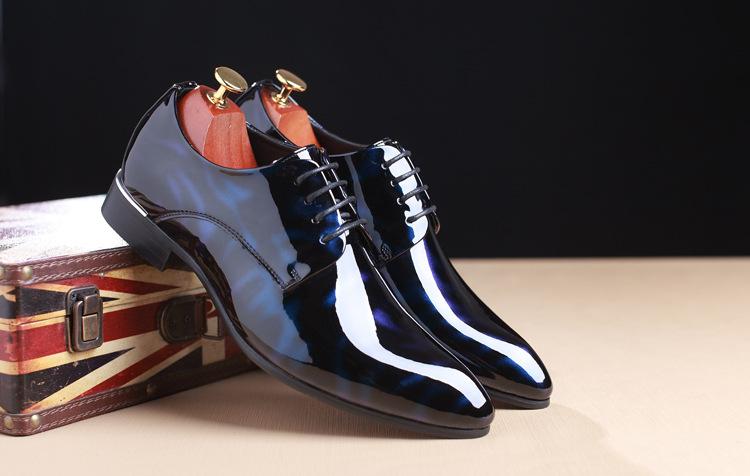 NPEZKGC Big Size 38-48 Men Shoes PU Leather Casual Shoes Fashion Lace Up Oxfrds Shoes Breathable Patent Leather Men Flat Shoes 2