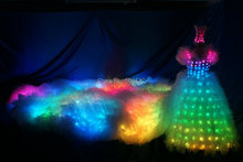 LED fluorescent clothes uniform LED tail wedding dress is 2.8 meters long tail TC-23