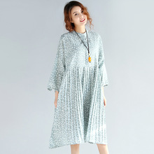 Robe Femme Spring Summer Light Blue Ladies Stand Neck Long Sleeve Thin Cotton Linen Dresses For Women Knee Length Casual Dresses