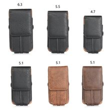 Universal Premium Leather Card Slot Pocket Belt Bag Case Holster for Cell Phone