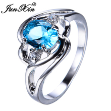 JUNXIN Light Blue Zircon Female Oval Ring White Gold Filled Wedding Party Engagement Finger Rings For Women Fashion Jewelry