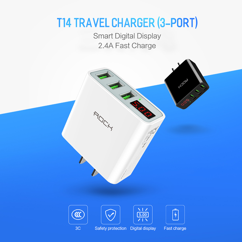 LED Display 3 USB Charger, ROCK Universal Mobile Phone USB Charger Fast Charging Wall Charger For iPhone Samsung Xiaomi Max 2.4A