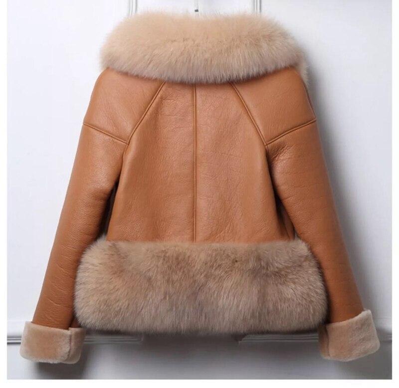 genuine sheep leatherskin jacket fox fur cooar coats (27)