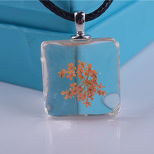 Orange Necklace Square 20mm Shaped Charm Pendant Collier Women Necklace With Leather Chain Choker Neckalce