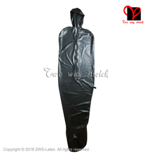 Vacuum Latex Catsuit Leotard Hood Rubber Zipper Black Plus-Size No with Opne Nose CQ-020
