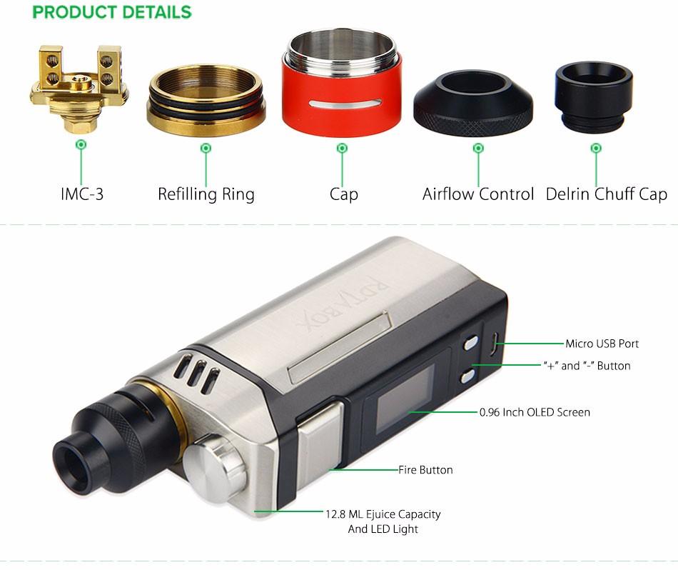 Original IJOY RDTA BOX Mod 0W +12.8ml Large e-juice Tank Atomizer & RDTA BOX MOD & IMC-3/IMC-Coil 3 Coils e-Cigarette 4