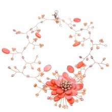2017 new arrival handmade baby pink mother of pearl Freshwater pearl flower chokers necklace pearls wrap nacklace