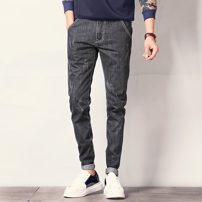 New Fashion Ripped Men Jeans Black Blue Stretch Mens Denim Pants Korean Style Slim Fit Casual Male Trousers Plus Size 40Îäåæäà è àêñåññóàðû<br><br>