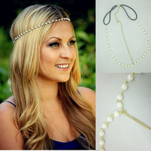 YouMap Fashion Women Lady Artificial Pearls Charm Head Chain Headband Jewelry Headpiece Elastic Rubber Hair Band A5R25