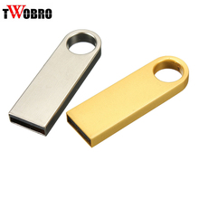 TWOBRO Mini Keyring USB Flash Drive 4GB 8GB 16GB 32GB 64GB Waterproof Metal Key Pendant Pendrive Key chain 2.0 Stick Pen drive