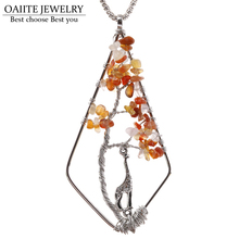 OAIITE Necklaces for Women DIY Handmade Tree of life Imitation Natural Stone Pendant Necklace Charm Animal Long Necklace