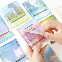 P74 2X Attractive Oil Painted Style Paper Sticky Notes Message Writing Memo Pads School Office Supply Stationery Calendar Decor