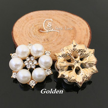 28MM Golden rhinestone button diamond -glitter crystal jewelry center flower decorative accesories 20pcs /lot