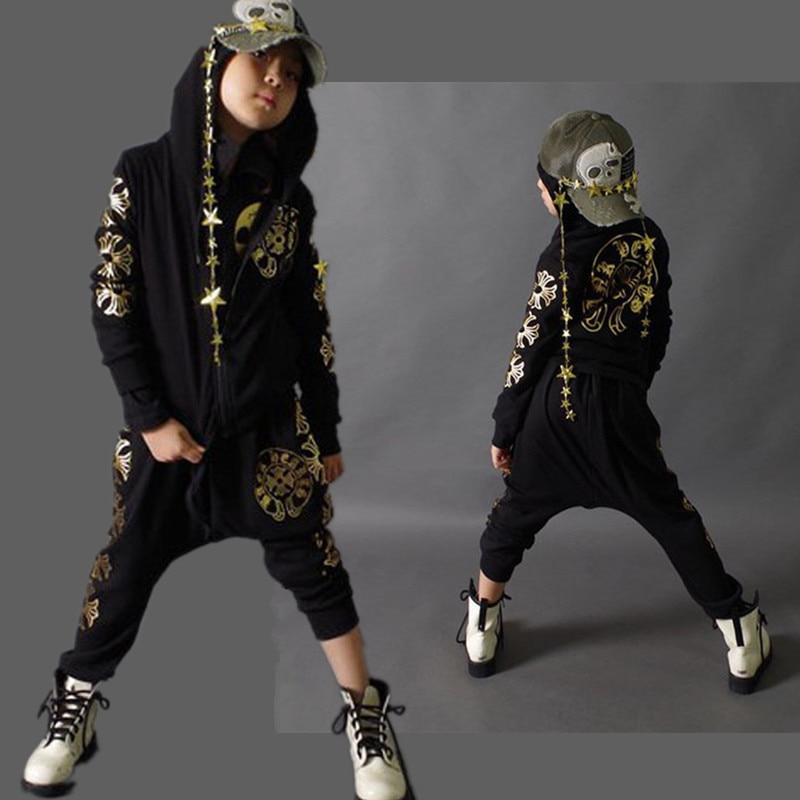 Fashion Spring Autumn 4-14Y Childrens Clothing Set Gold G luoxing Print kids Sport Suits Hip Hop harem pant &amp; sweatshirt Black<br><br>Aliexpress
