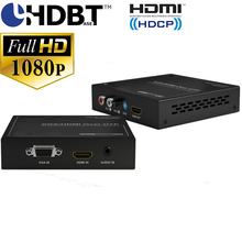 VGA HDMI Switcher 2-in-1 HDbaset extender Poh Pow up to 100M by single cat5e/6 cable EDID audio with power supply(China)