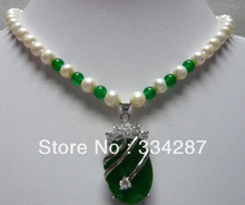 Noble  White  7-8 Genuine Pearl   Silver Plated Green  jades   pendant  women Jewelry  Necklace   18inches