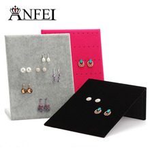 ANFEI 7 Differents Style Velvet Plastic Stud Earring Display Shelf Jewelry Stand Holder Jewelry Display Shelf Rack Wholesale(China)