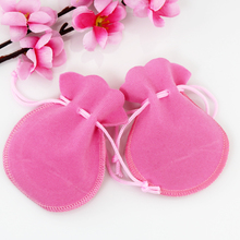 Free Shipping,100pcs/Lot 8*10cm Pink Christmas Wedding voile gift bag Velvet Bags Jewelry packing Gift Pouches(China)