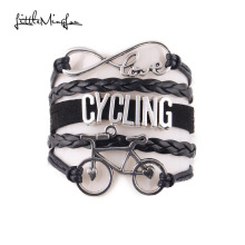 Little MingLou Infinity love cycling bracelet bike charm sport hobby bracelets & bangles for women men jewelry drop shipping