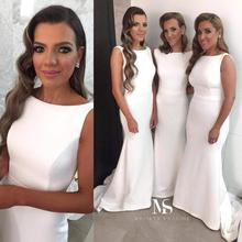 Top Quality White Satin Mermaid Long Bridesmaid Dresses Wholesale Cheap Women Wedding Party Gowns 2017 Fast Delivery Vestidos