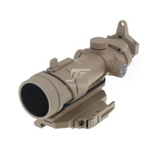 JJ Airsoft ACOG Style 4x32 Scope Red/Green Reticle Illumination with Killflash,AC12033 Bobro Style QD Mount (Tan)