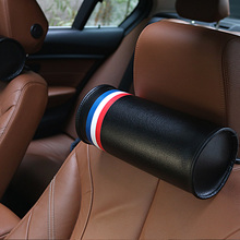 Quality PU M Strips National Flag Germany Italy France Roll Headrest Round Head Restraints Car Styling Pillow for BMW Benz Audi