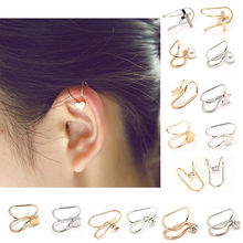 Women U Shaped Ear Cuff Silver Gold-Color 1 Pc Girls Female Pearl Rhinestone Clip Earrings Fine Fashion Jewelry