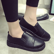 Female youth flat ladies' shoes retro black work neutral shoes British style small tide