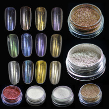 Hot 1g 12 Colors Magic Mirror Powder Nail Sequins Chrome Pigment Nail Art Decorations Dust Polish for Glitter Tips #01-12