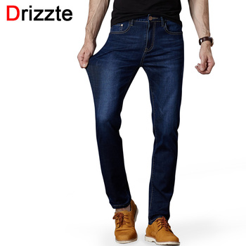 Drizzte Men Blue Jeans Straight High Quality Slim Pants Denim Long Length Stretch For Business Commuting Men's Jean