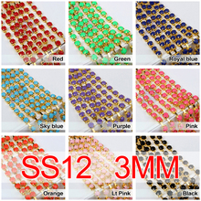 2017 Hot Sale SS12 SS16 SS28 Acryl Rhinestone Chain Gold Cup Chains 20 Colors Optional For Garment Free Shipping