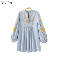 Vadim women vintage flower embroidery plaid pleated dress lantern sleeve V neck bow tie ladies summer casual dresses QZ2947(China)
