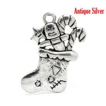 20 Pcs Antique Silver Christmas Candy Cane Stocking Charms Pendant 29x25mm