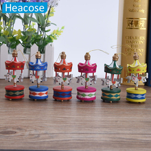 2017 Christmas Wood Carousel Horse Ornaments Mini Beautiful Wooden Xmas Children Gift Toys New Year Christmas Gifts Pendant