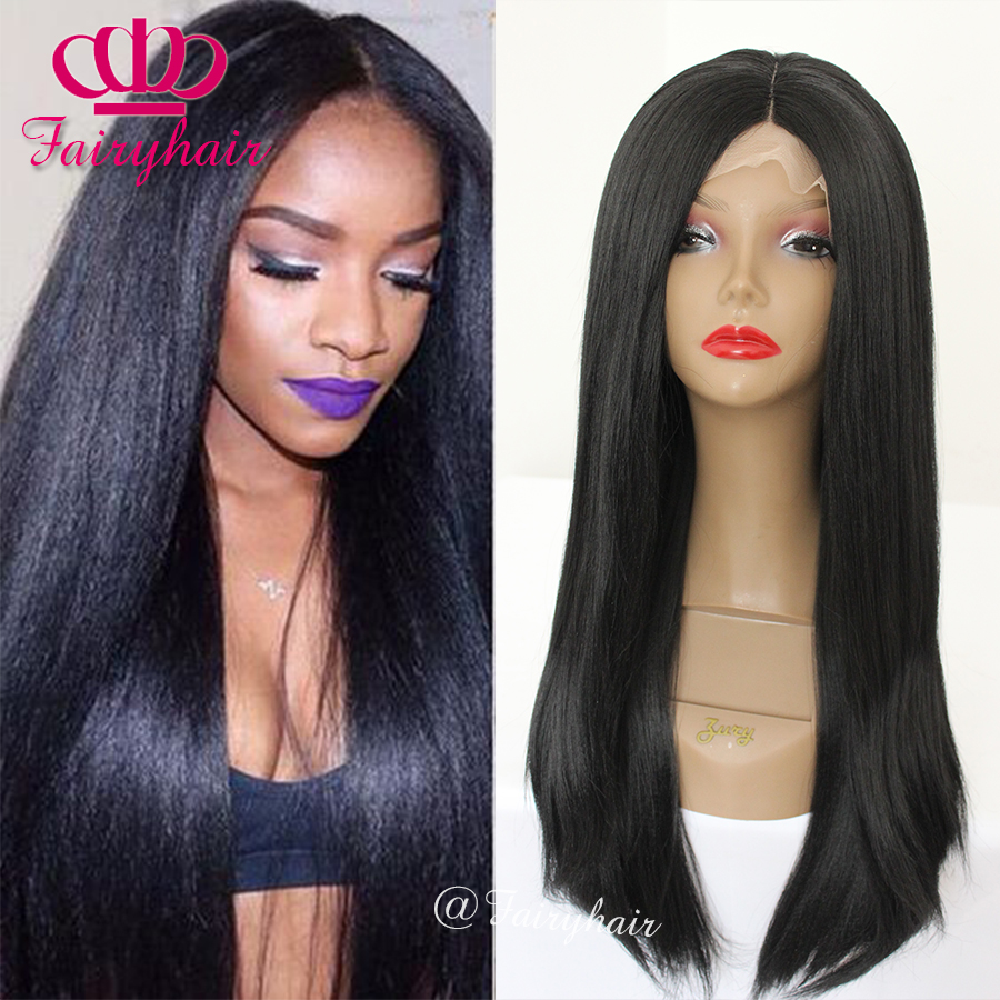 Hot Selling Kinky Straight Synthetic Hair Lace Front Wigs for Back Women Black Ykai hair wigs Heat Resistant Lace Front Wigs<br><br>Aliexpress