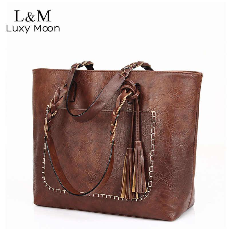 0832e1c4e67f Винтаж сумки Для женщин коричневая кожаная сумка Женская Ретро-сумка  большой PU женские сумки Bolso