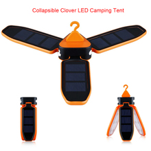 Rechargeable Battery Powered By USB Charging and Solar Collapsible Clover Style Camping Tent Solar Lantern Lights Flashlight
