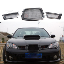 3PCS/SET Car Styling carbon fiber Front mesh Grill Grille For Subaru Impreza WRX 9th 2005~2006