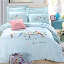Luxury quality 100% natural silk lovely freedom birds in sky 4pcs children kids adult duvet cover bedsheet bedding set kit/B3574