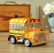 Retro Tinplate Metal School Bus Models Collection Classic Handmade Arts And Crafts Bus Vehicle Model FreeShipping