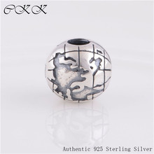 CKK 925 Sterling Silver Map Clip Charm Beads for Jewelry Making Fit Bracelets Diy Fine Jewelry Free shipping PK076-N